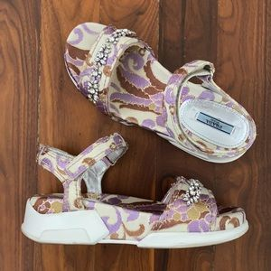 Prada Bejeweled Silk Brocade sandals